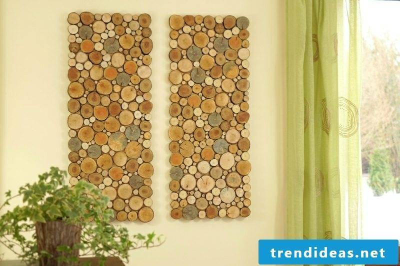 Wall decor wood murals from wooden discs
