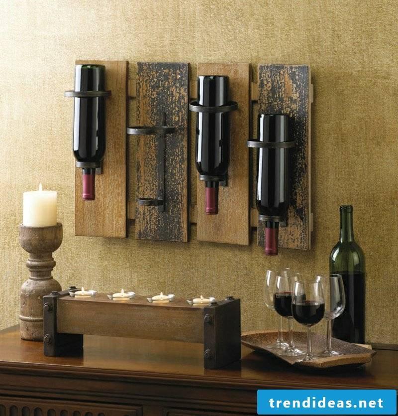 Wall decor wood wine rack