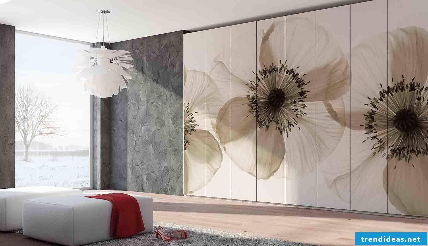 Flowery living room wall
