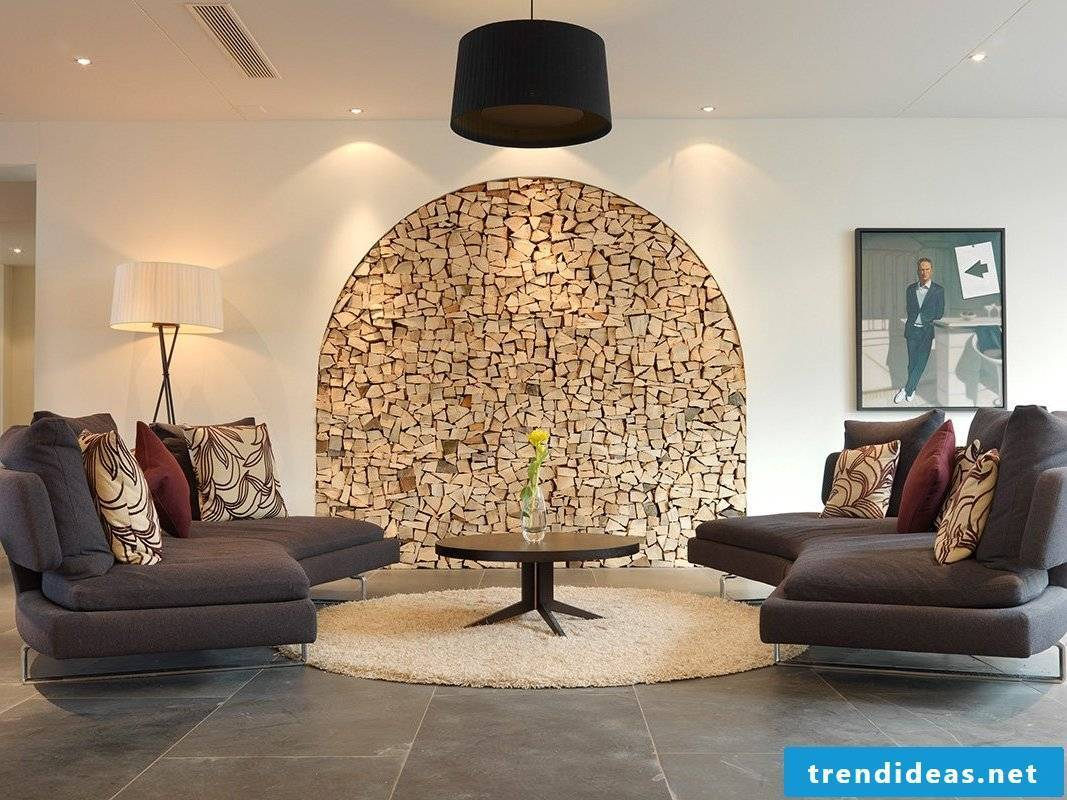 Stylish living room with interesting wall design