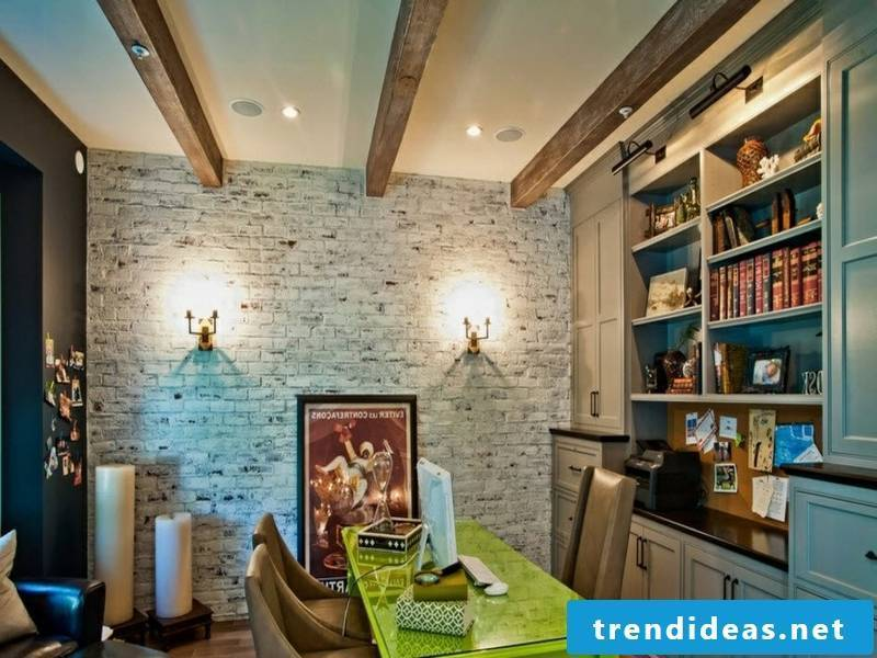 Wall design with white bricks in the retro living room
