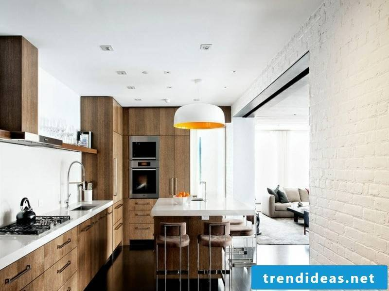 Wall design with white bricks in the modern kitchen