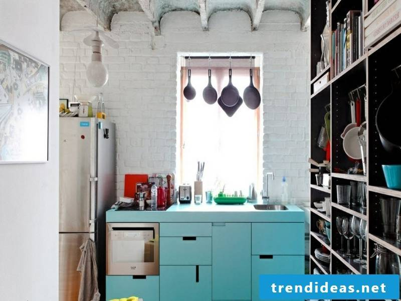 Wall design with white bricks in the retro kitchen