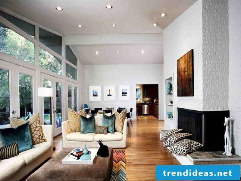 Designer wall design with white bricks in the living room