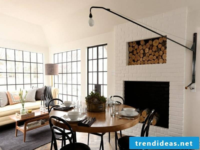 Modern wall design with white bricks in the dining room