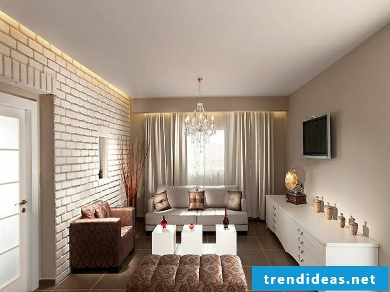 Luxurious wall design with white bricks in the living room
