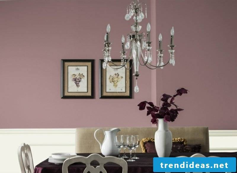 Wall color old rose beautiful living interior in vintage style