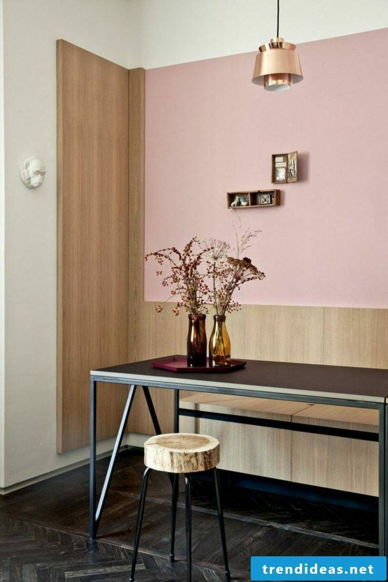 Wall color old rose dining area industrial modern