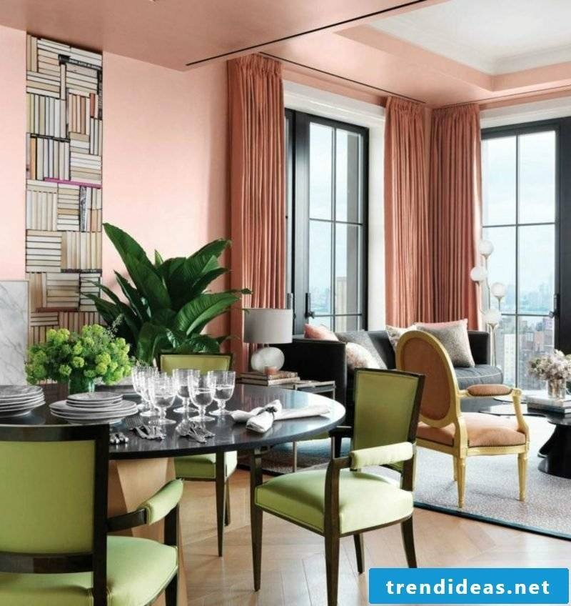 Living room and dining area Farbakzente old pink mint green