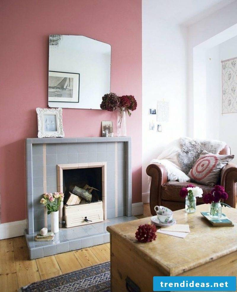 Wall color old pink accent wall living room