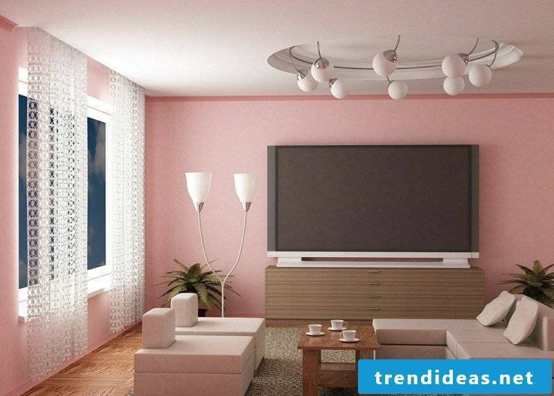 Color old rose wall living room minimalist style