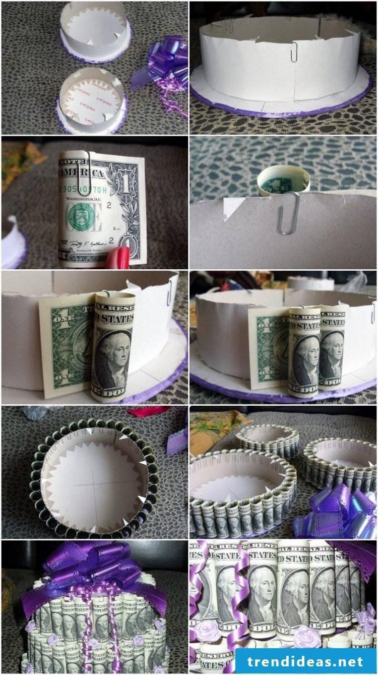 DIY cake making money gift