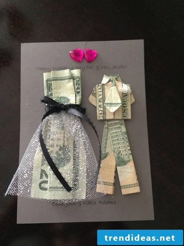 Banknotes fold dress - make wedding card