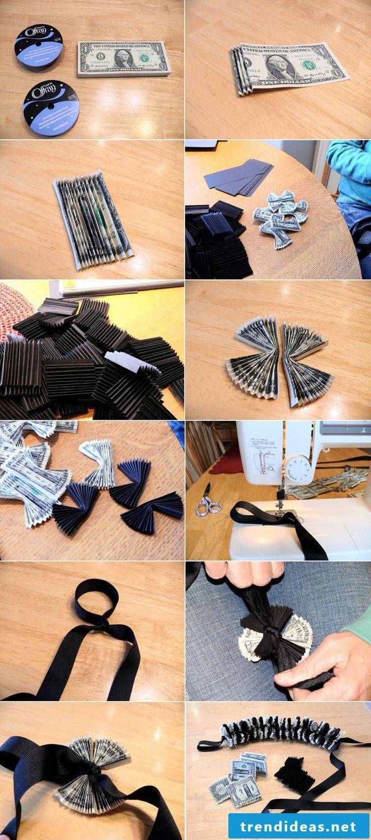 Folding banknotes Make heart and chain out of money yourself