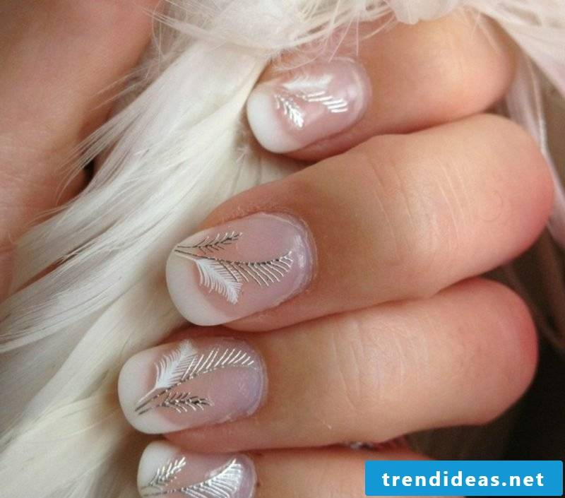 Nail art design wedding French feather