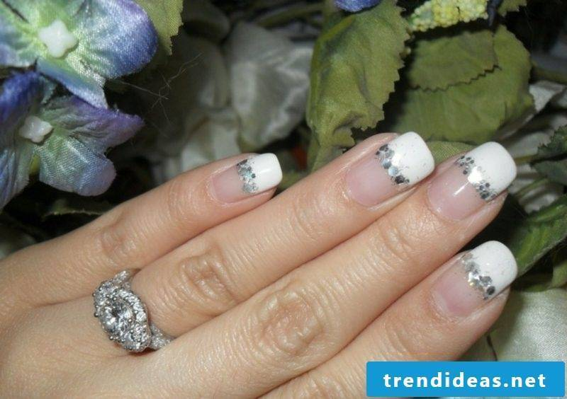 Nail art design french wedding rhinestones
