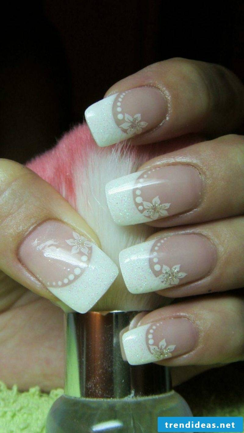 Wedding nails French dots and flowers