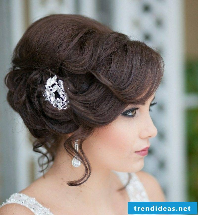 Updos with curls bridal hair accessories