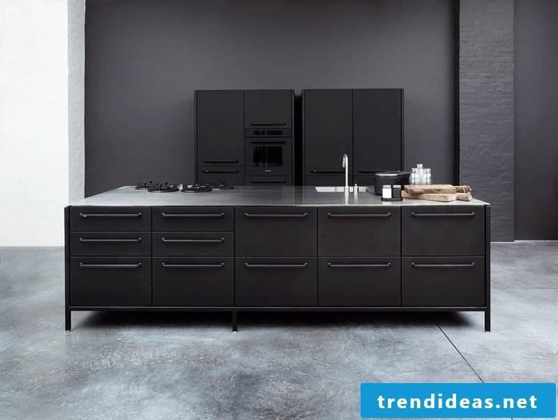 elegant modular kitchen in black