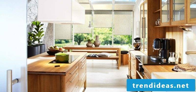 modular kitchen in solid wood in country style