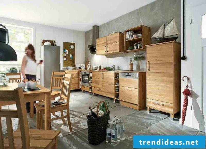 typical modular kitchen in country style wood