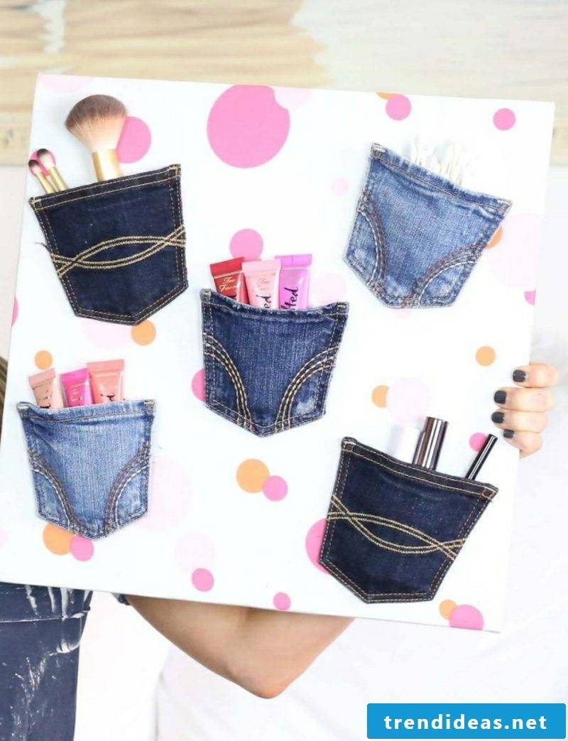 What can you do with old jeans Make up storage