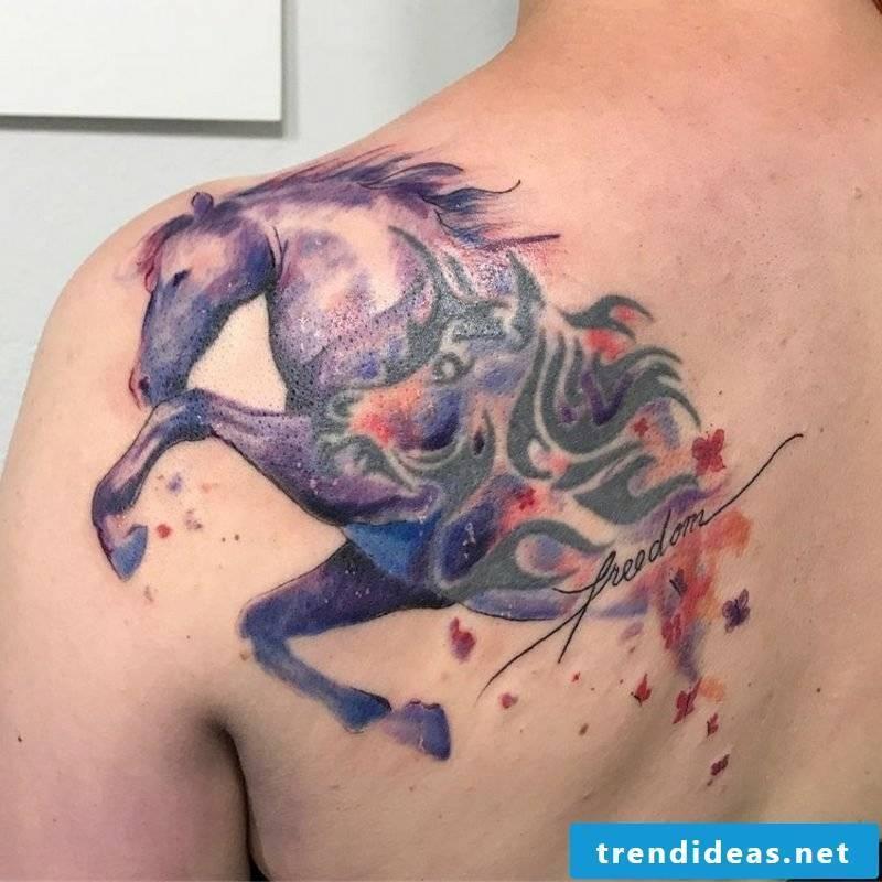 Watercolor tattoo animal pattern horse