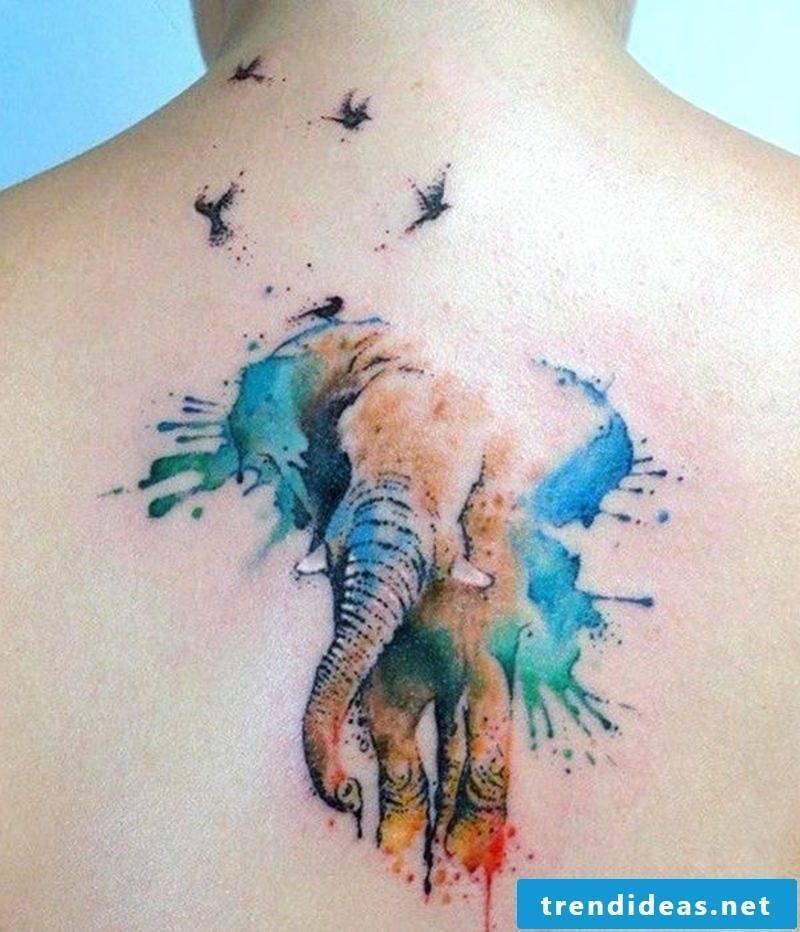 Watercolor Tattoo Animal Pattern Elephant