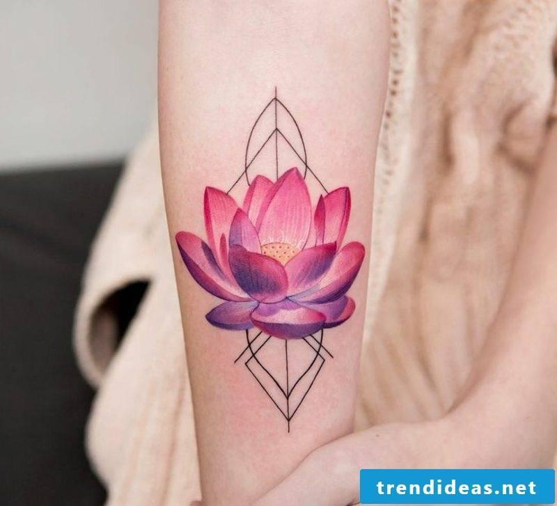 Watercolor tattoos lotus flower
