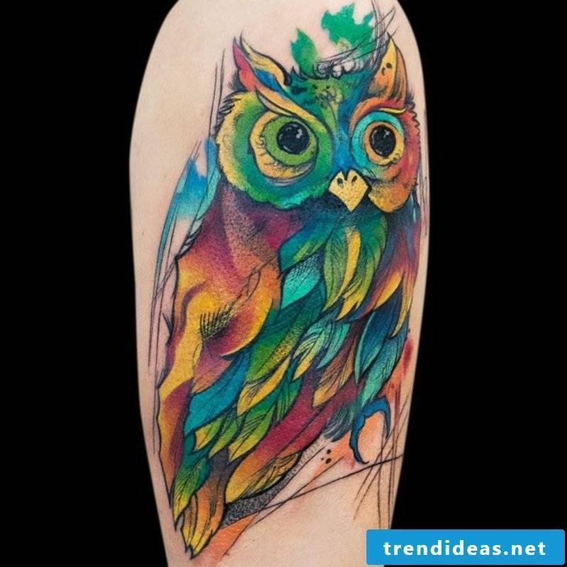 Watercolor tattoos creative ideas owl