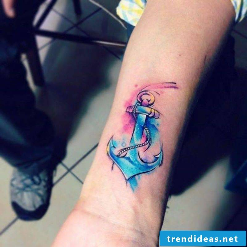 Watercolor tattoos anchor underarm