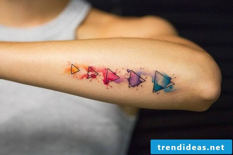 Watercolor tattoo geometric modern look