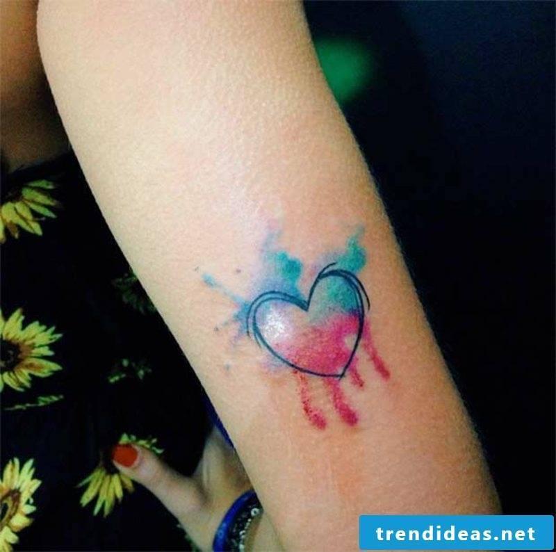Watercolor Tattoo Heart small discreet