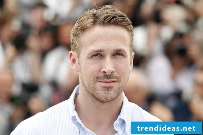 elegant men's hairstyles Ryan Gosling side vertex