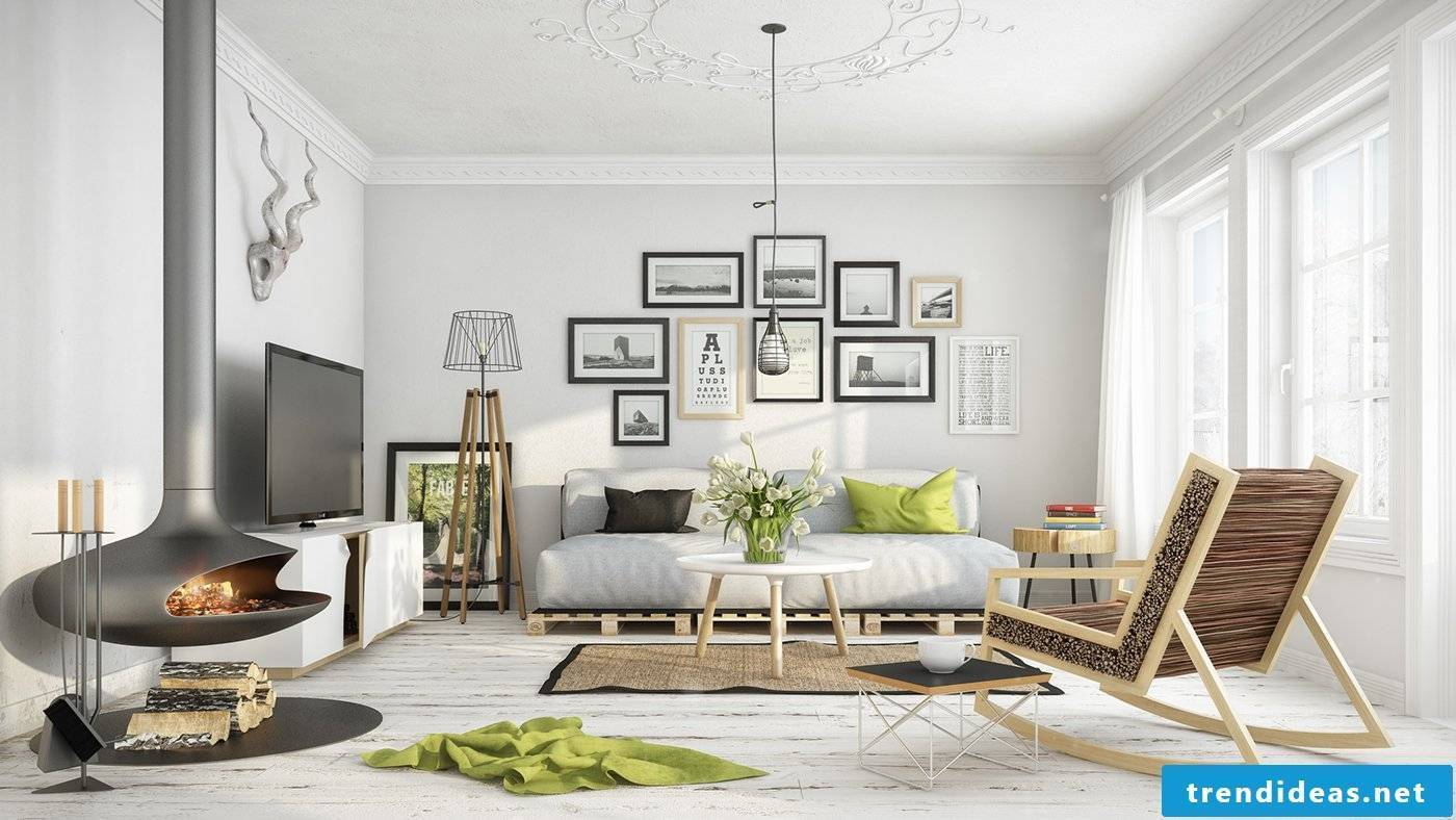 The modern Scandinavian style furnishings fascinate you with their clean lines, elegant patterns and the color combination in black and white.