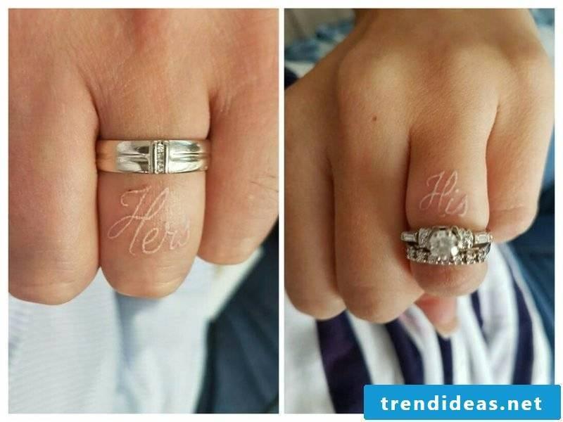 Wedding ring tattoo white ink