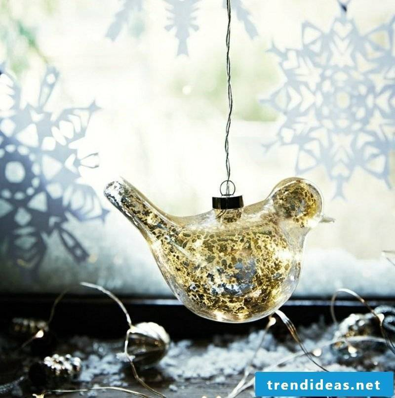 Window pictures for Christmas bird snowflakes