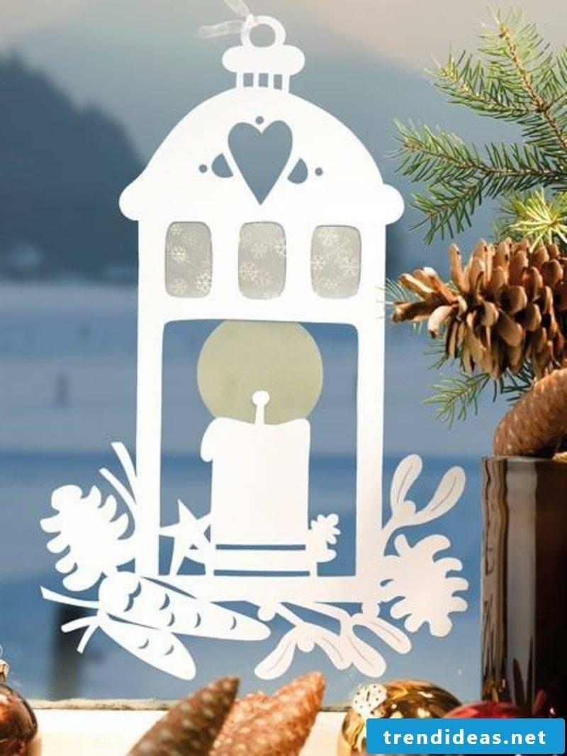 Window pictures for Christmas Candle lantern Transparent paper
