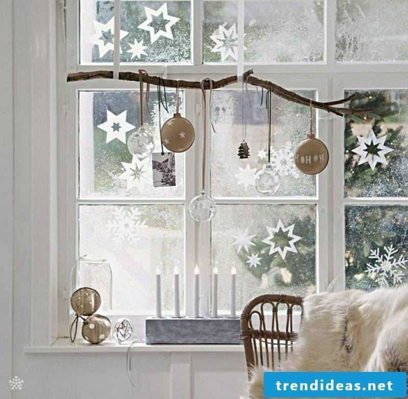 Window pictures for Christmas artificial snow