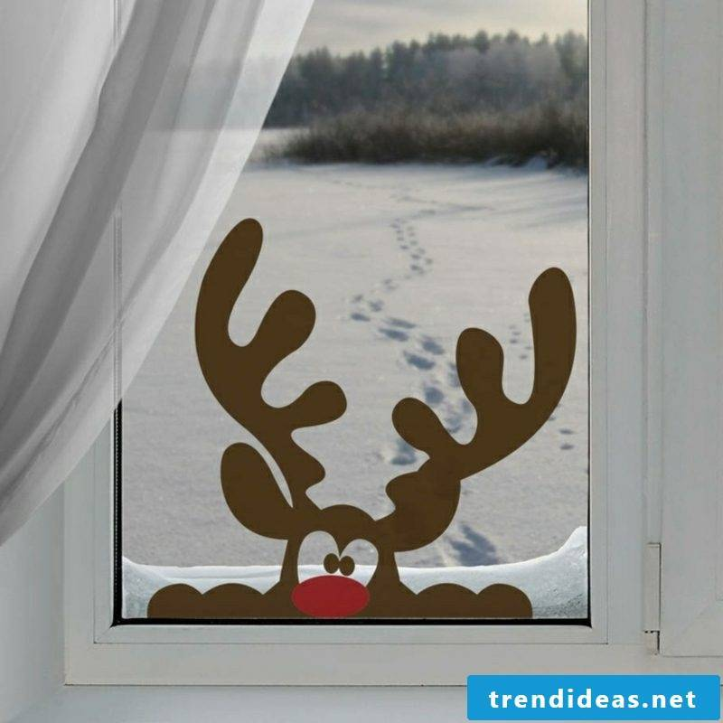 Window pictures for Christmas reindeer made of paper funny