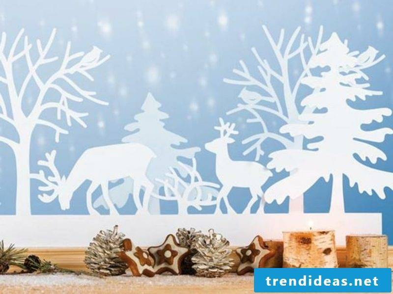 Window pictures for Christmas deers and fir trees paper