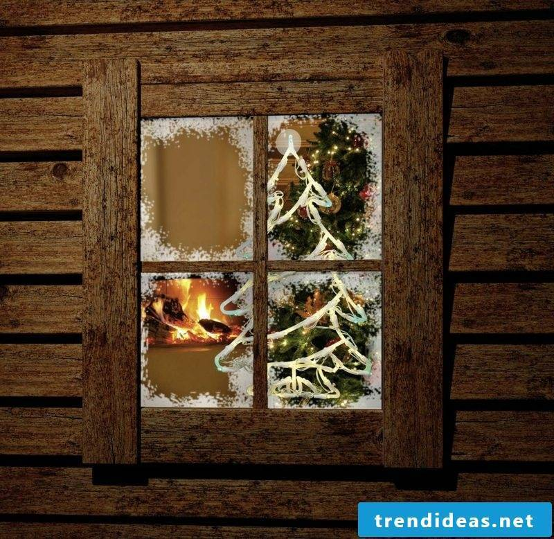 Window pictures for Christmas Christmas tree fairy lights