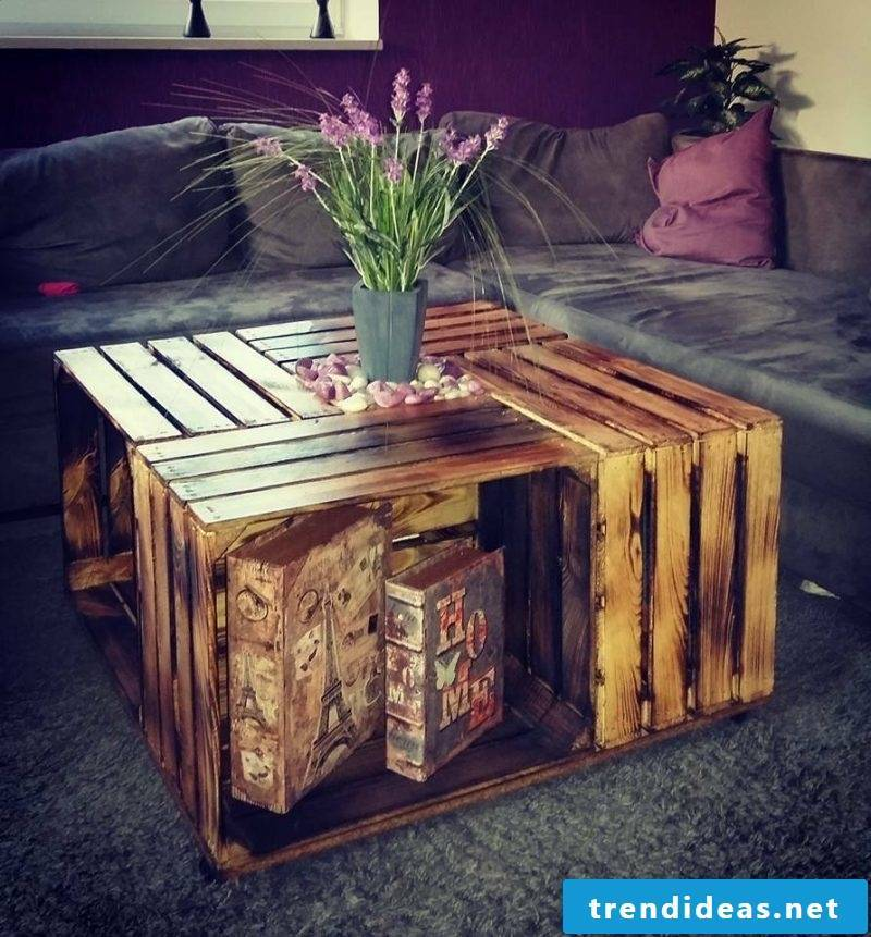 Make wine crates table yourself