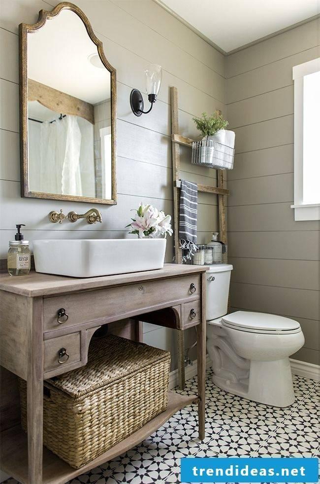vintage wood vanity top creates a cozy ambience