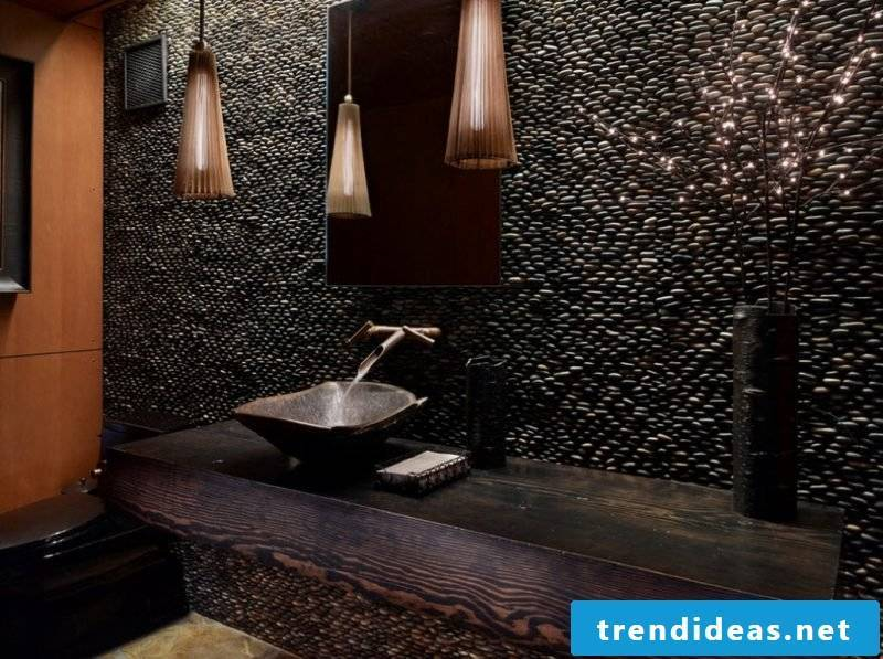 wood vanity top also looks stylish and modern in the dark rustic bathroom