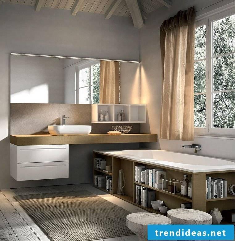Wooden vanity top in a modern designed bathroom with wood bathtub