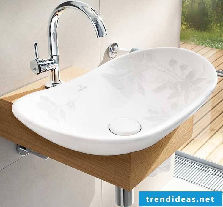 wooden vanity top with white ceramic sinks in fine design