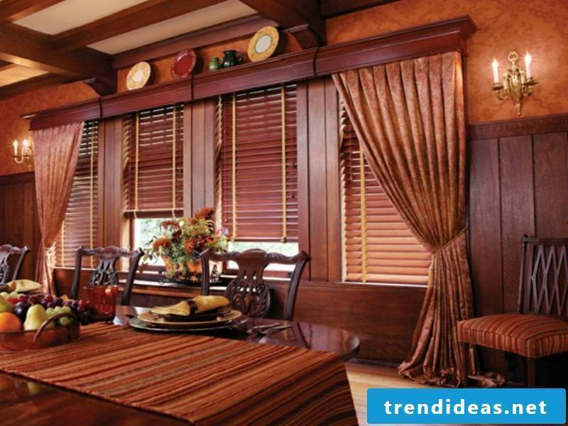 Wooden blinds accentuate brown furniture