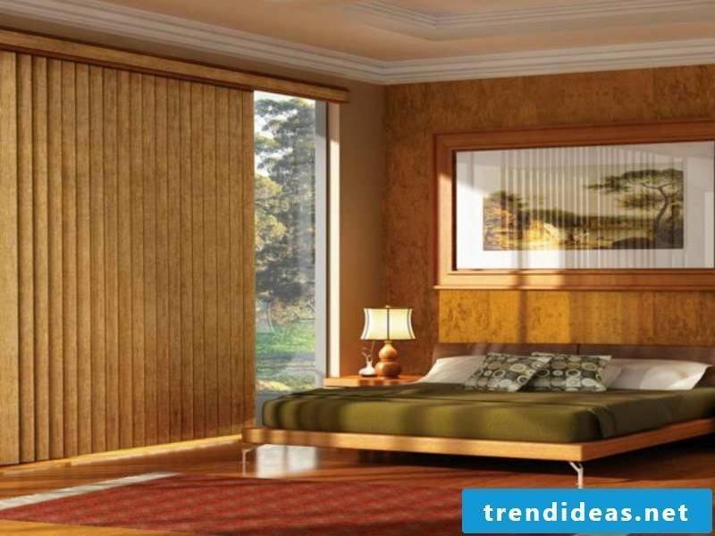 Large wooden blinds for a beautiful bedroom