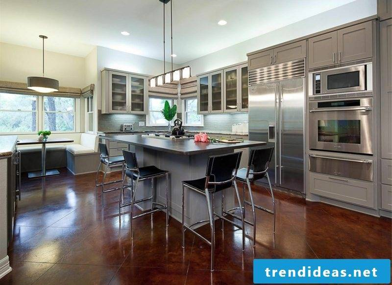 open plan kitchen with bar